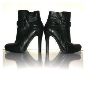 Charlotte Russe Black Leather Ankle Boot Heels